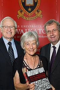Emeritus Professor Noeline Alcorn with University Chancellor Jim Bolger and Vice-Chancellor Professor Roy Crawford